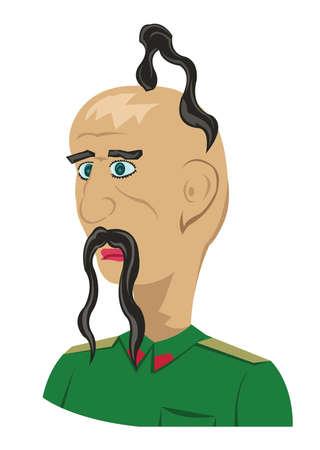 forelock: Cossack Portrait Illustration. Man with a forelock in a green uniform. Portrait profile view. Digital vector illustration.