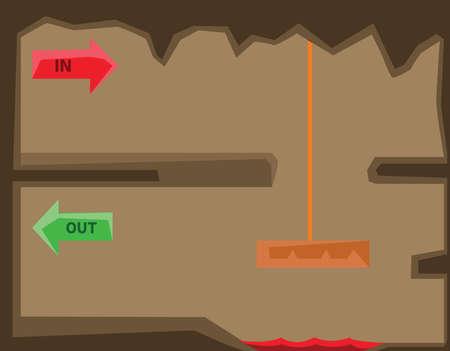 gameplay: Level design illustration. Platformer gameplay graphics. Underground world game level. In and Out signs. Digital vector background image.