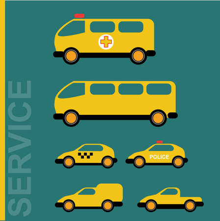 hauler: Public service cars. Ambulance, school bus, taxi, police, hauler. Car transporter. Various automobiles. Isolated objects on green backdrop. Vector digital illustration.