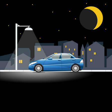 bright lights: Lonely blue colored car on an empty night street. Lamppost shining in the night above a vehicle on a city street. Digital vector illustration. Illustration