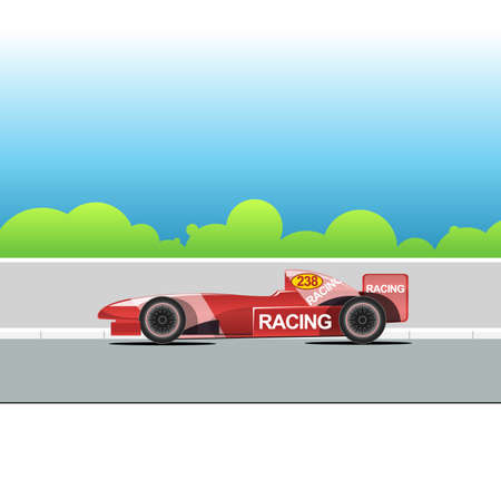 racing track: Racing bolide car on a racing track. Red single-seat auto racing. Racing track with green trees. Digital vector illustration. Illustration