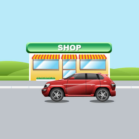 crossover: Red crossover on the road near a shop. A vehicle parked near a mini market. Suburban landscape view. Digital vector illustration. Illustration