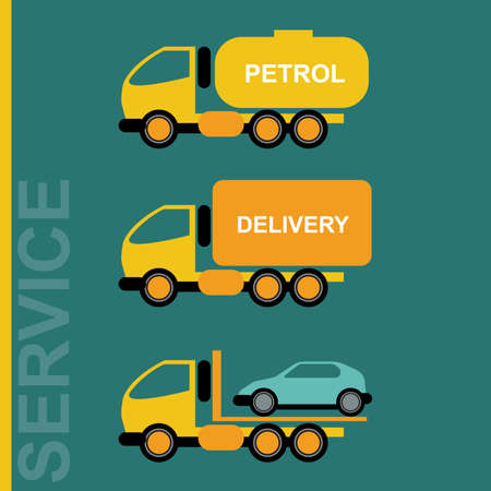 freighter: Delivery Cars. Petrol transportation truck. Car transporter. Various freighter automobiles. Isolated objects on green backdrop. Vector digital illustration. Illustration