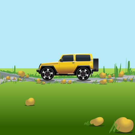 summer tires: Yellow offroad car on a countryside. Auto trip. Green meadows and blue sky with no clouds. Digital vector illustration.