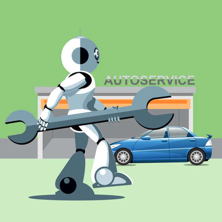 silver service: Silver humanoid robot presenting info graphics with tools and cars at auto service. Digital background vector illustration.