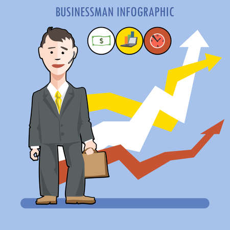 uphill: Business man presenting an infographic