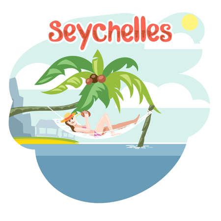 palm reading: Seychelles flyer with a girl lying on a beach chair with hat Illustration