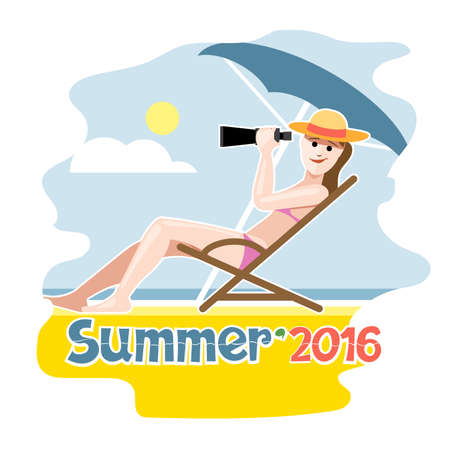 Summer 2016 flyer with a girl lying on a beach chair with hat