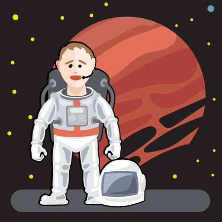 spaceman: Spaceman in space with stars background Illustration