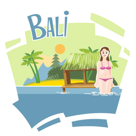 palm reading: Bali flyer with a girl swimming into the sea Illustration