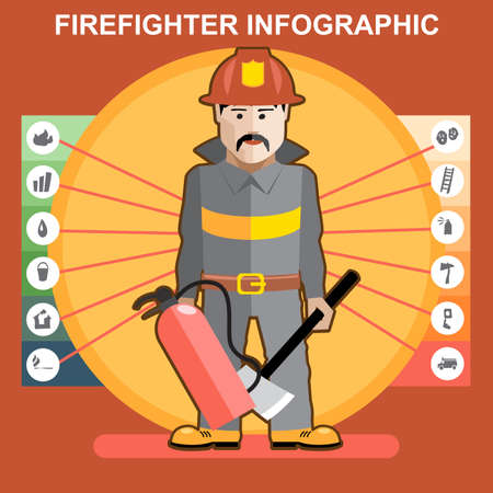 fire fighter: Fire fighter in fire suit man presenting an infographics Illustration