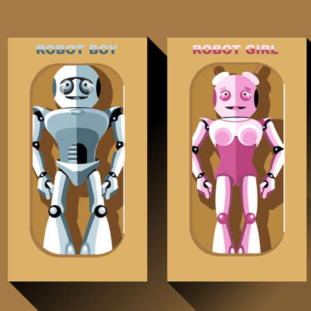 cyber girl: Two silver and pink humanoid robots in boxes, male and female. Digital background vector illustration