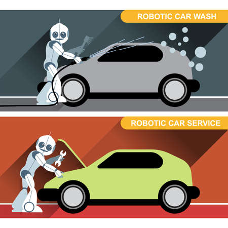 silver service: Silver humanoid robots fixing and washing cars with tools at an auto service. Digital background vector illustration.