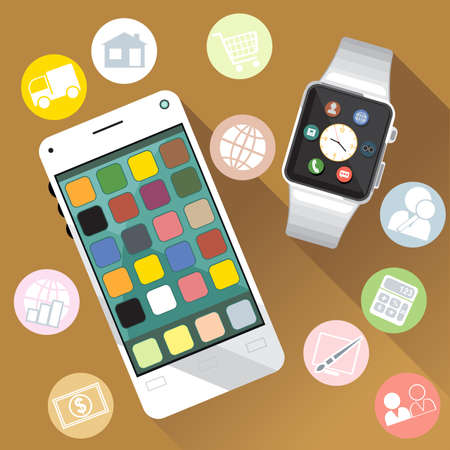 phone time: A white smart watch and mobile phone with time, calls, mail, contacts, battery and weather info icons on the display panel on a brown background, digital vector image