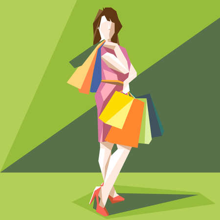 red shoes: Shopping lady in a pink dress and red shoes, on a green sliced background, in big pixel style with bags, digital vector image Illustration