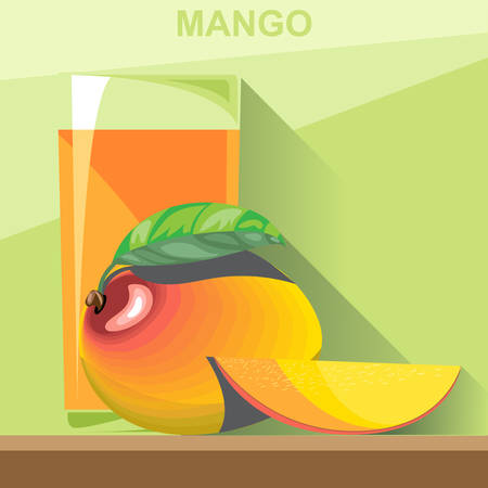 mango slice: A glass of yellow mango juice, a whole big ripe mango with green leaves and a half mango on a table, digital vector image.