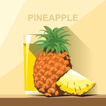 pineapple juice: A glass of yellow pineapple juice, a whole big ripe pineapple with green leaves and a slice of pineapple on a table, digital vector image.