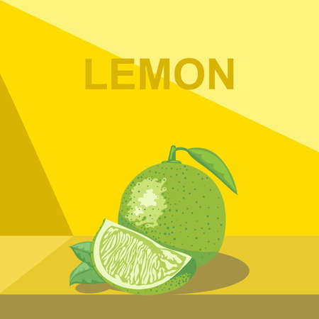 sliced tree: A whole big ripe lemon with green leaves and a half lemon on a table, digital vector image.
