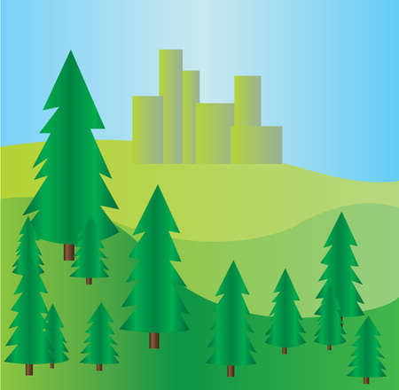 hill distant: Pine trees at mountains landscape with blue skies. Digital background vector illustration.