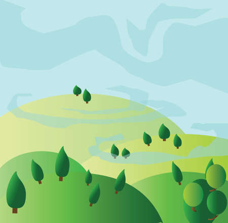 yellow hills: Green trees growing on yellow hills with blue skies. Digital background vector illustration. Illustration