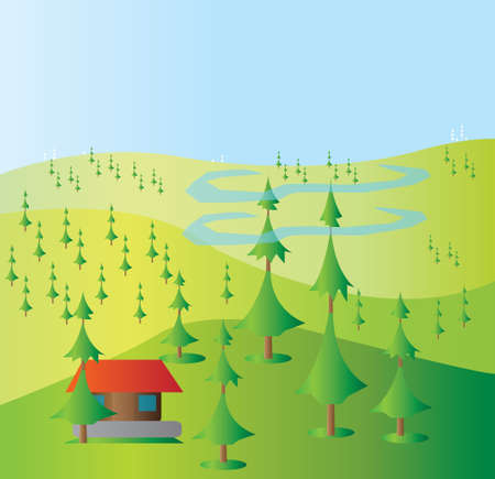yellow hills: Green trees growing on yellow hills with a blue background and a small red house and blue clouds. Digital background vector illustration.
