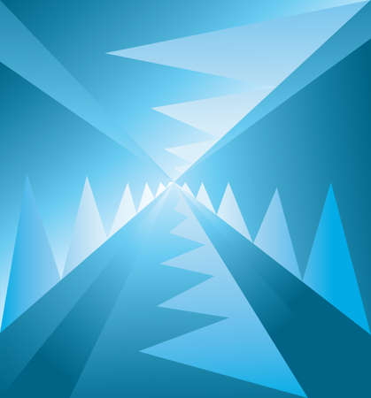 disorient: Abstract background with lines and blue zig zags descending to the centre, digital vector image