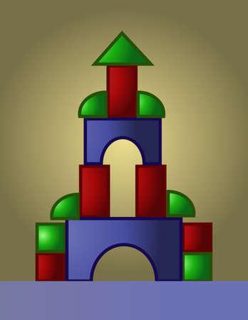 brincolin: vector de imagen digital de color de juegos castillo construido a partir de piezas peque�as de color rojo, verde y azul,