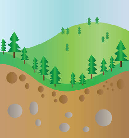 rock layer: Green trees mountain section landscape with brown ground and stones. Digital background vector illustration. Illustration