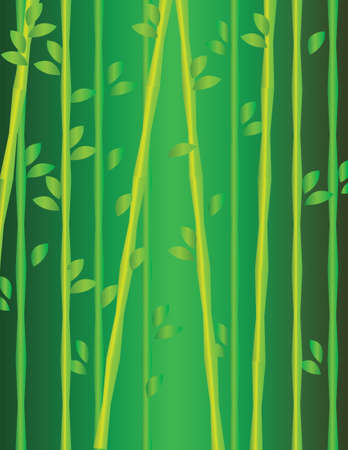 branches with leaves: Green and yellow growing branches with leaves. Digital background vector illustration. Illustration