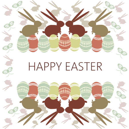 raisin: Happy Easter Card. Easter eggs and bunnies. Plain Colored Easter Eggs. Digital background vector illustration.