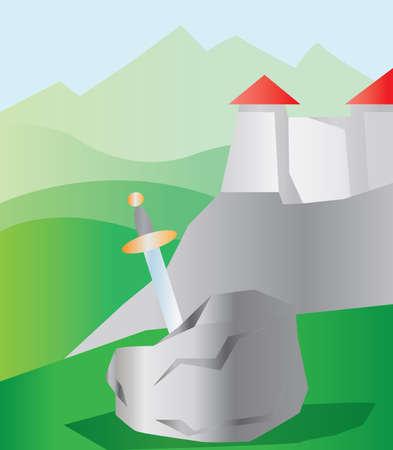 Une épée dans une pierre, à proximité d'un château avec toit rouge dans les montagnes vertes. Digital background illustration vectorielle.