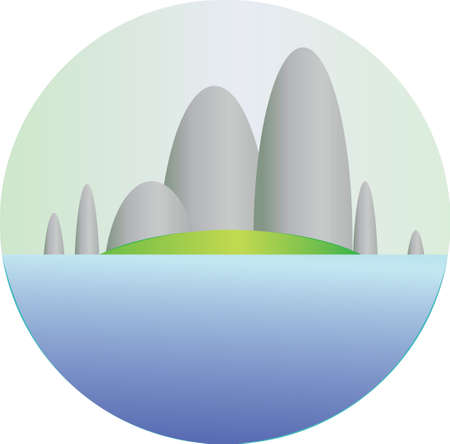 green fields: Silver hills with green fields and sea section in a round frame. Digital background vector illustration.