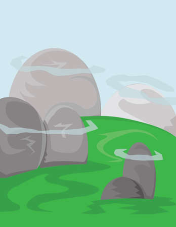 green fields: Silver hills with green fields and blue skies with white clouds. Digital background vector illustration.