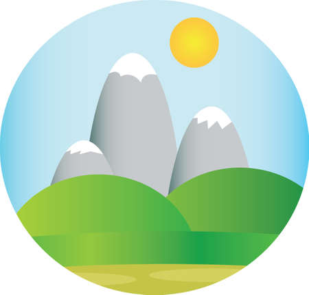 green fields: Silver mountains with snow with green fields and sun in the sky in a round frame. Digital background vector illustration.