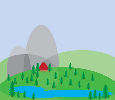 lake house: Green trees growing on silver hills with a blue background and a small red house near a blue lake. Digital background vector illustration.