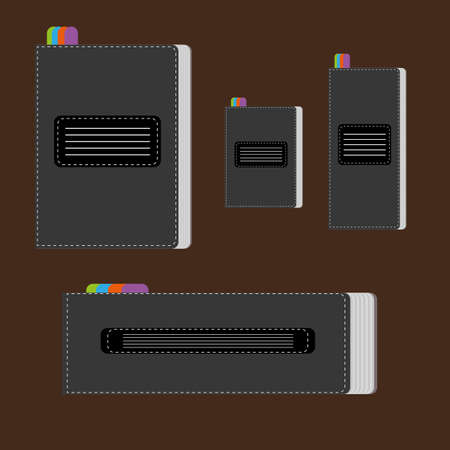 image size: A set of silver writing notebooks of different size with colored marks, over a brown background, digital vector image.