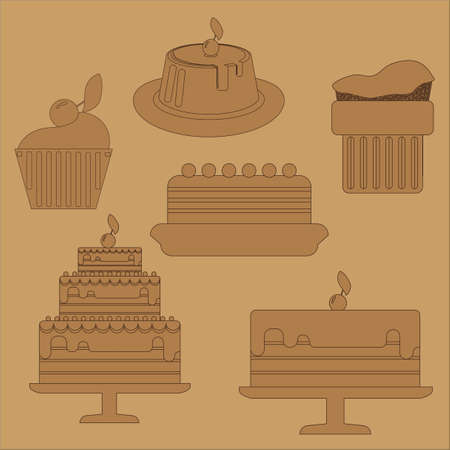 chocolate mousse: Card with six big cream layered cakes over a brown background, in black outline style. Digital vector image. Illustration