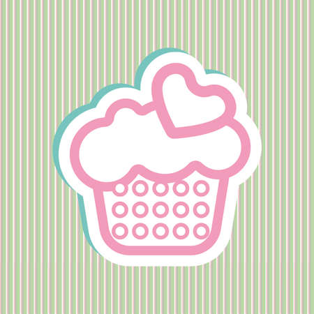 bubles: Card with a cream cake with pink and green bubles and heart shapes over a background in lines, in outline style. Digital vector image.