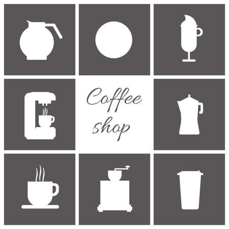 black coffee: A set of white coffee items, cup of coffee with steam, coffee machine, mill, glass, jug, jar, with coffee shop inscription, in outlines, over a silver background, digital vector image