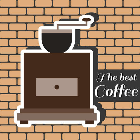 best coffee: A brown coffee mill, with the best coffee inscription, in outlines, over a brown background with bricks, digital vector image
