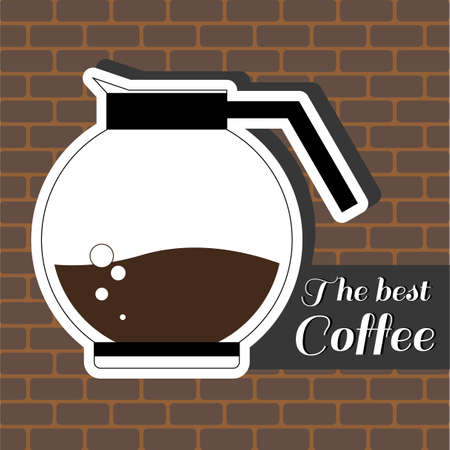 best coffee: A jur of coffee, with the best coffee inscription, in outlines, over a brown background with bricks, digital vector image