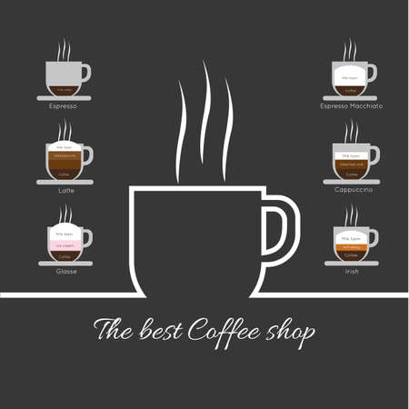 glasse: A white cup of coffee with steam, with best coffee shop inscription and espresso, latte, glasse, espresso macchiato and cappuccino, in outlines, over a silver background, digital vector image Illustration