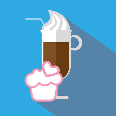 pink cake: A glass of coffee with ice cream and straw, with a pink cake with heart and shadow, in outlines, over a blue background, digital vector image