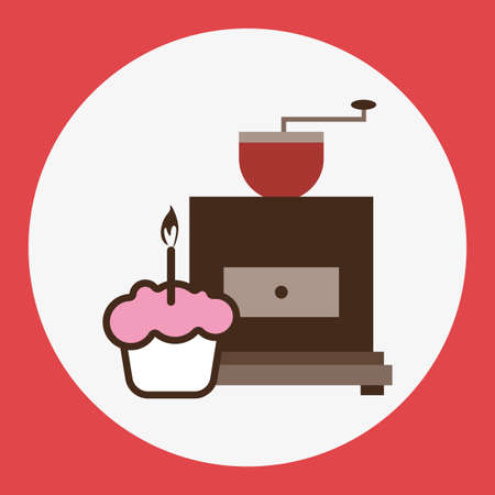 pink cake: A brown coffee mill, with a pink cake with burning candle, in outlines, over a red round background, digital vector image