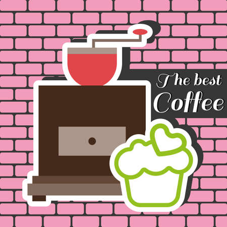 best coffee: A coffee mill with a green cake with heart on top and best coffee shop inscription, in outlines, over a pink background with bricks, digital vector image