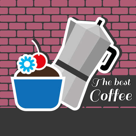best coffee: A silver metal jar of coffee with a blue cake with red cherry on top and best coffee inscription, in outlines, over a pink background with bricks, digital vector image Illustration