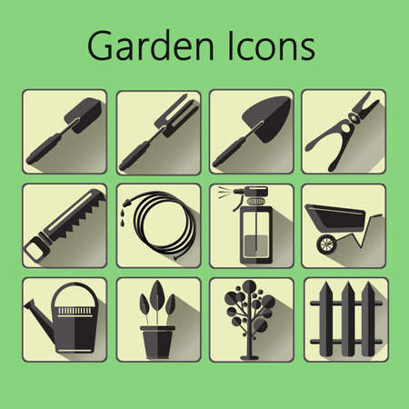 raking: Black gardening icons set over a green background, digital vector image