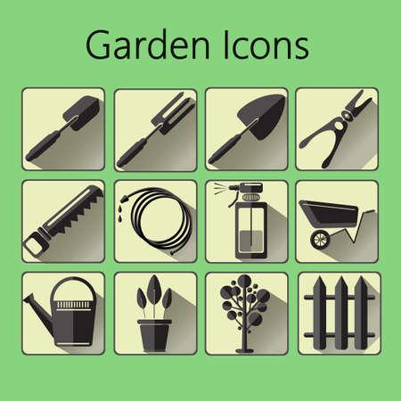 hosepipe: Black gardening icons set over a green background, digital vector image