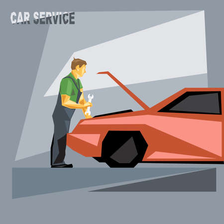 fixing: A mechanic in green and silver suit with tools, fixing a red car in car service, over silver background, digital vector image Illustration
