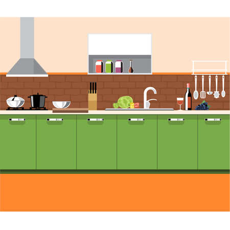 washstand: A kitchen plane with green furniture and brown bricks wall, with bottles, set of knives, wine, glasses, washstand and other accessories, digital vector image